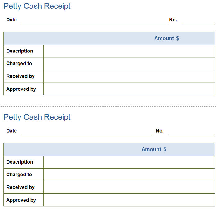 Petty Cash Receipt Template Free