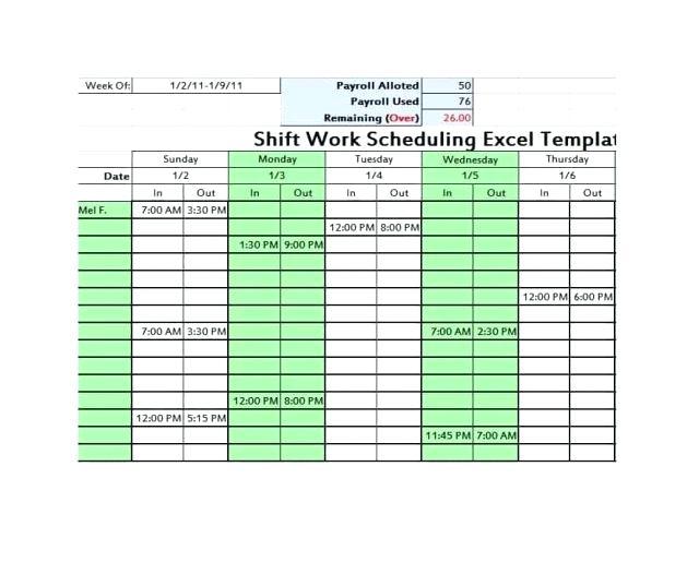 Pitman Schedule Template