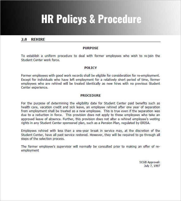 Policies And Procedures Template For Small Business