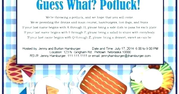 Potluck Email Example