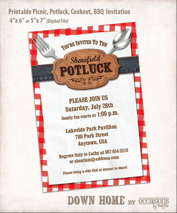Thanksgiving Potluck Invitation Template Free Printable Or 10 Potluck Email Invitation Templates Psd Ai
