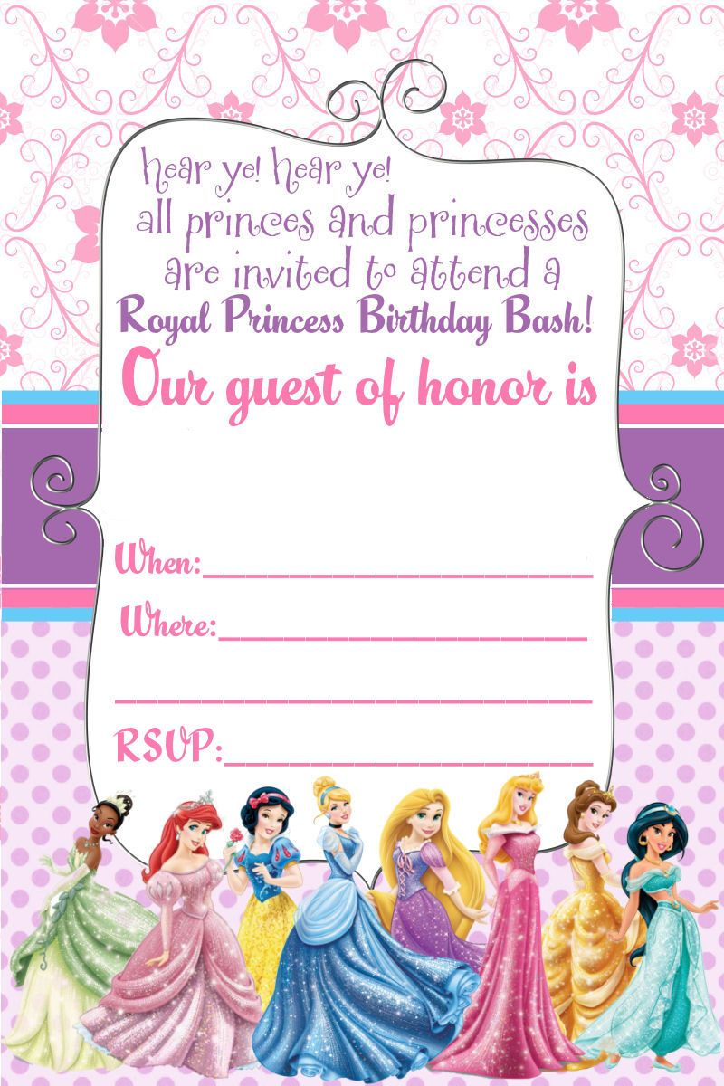 Princess Birthday Invitations Template Free