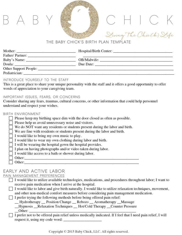 Printable Birth Plan Template Pdf
