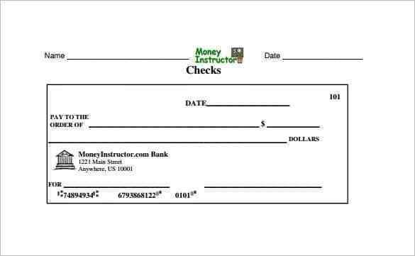 Printable Blank Payroll Check Template