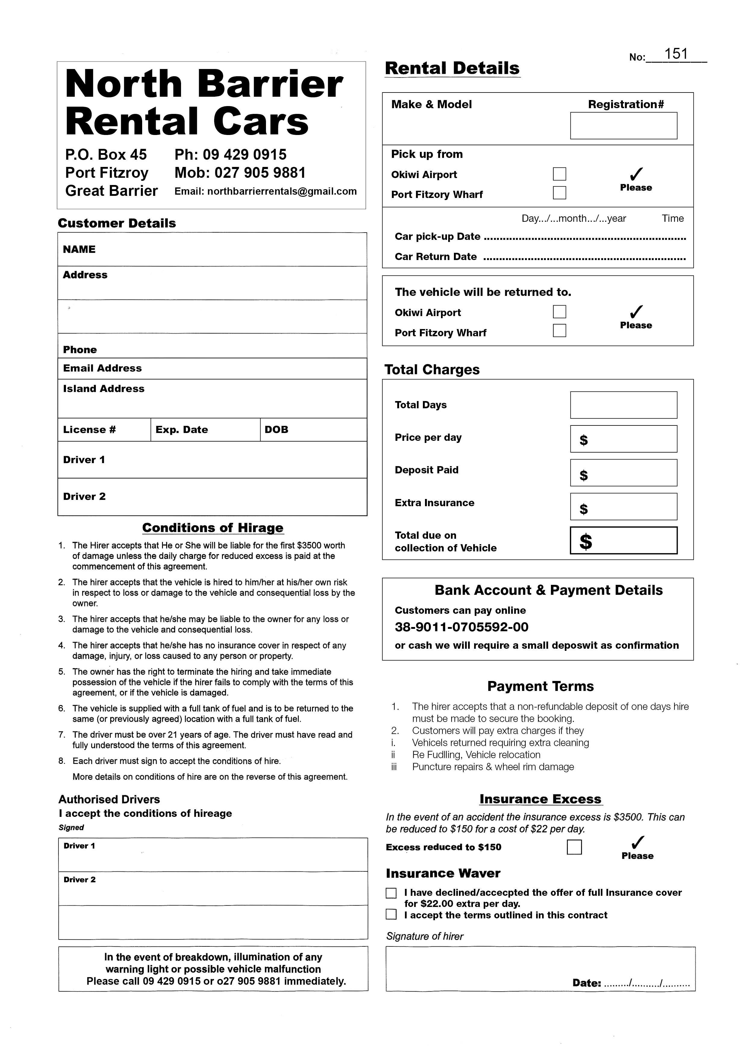 Vehicle Rental Agreement 101697 Printable Car Rental Agreements Template Word ? Financial
