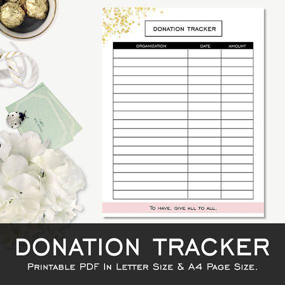 Printable Donation Tracker Template