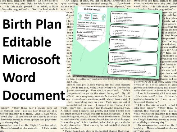 Printable Editable Birth Plan Template
