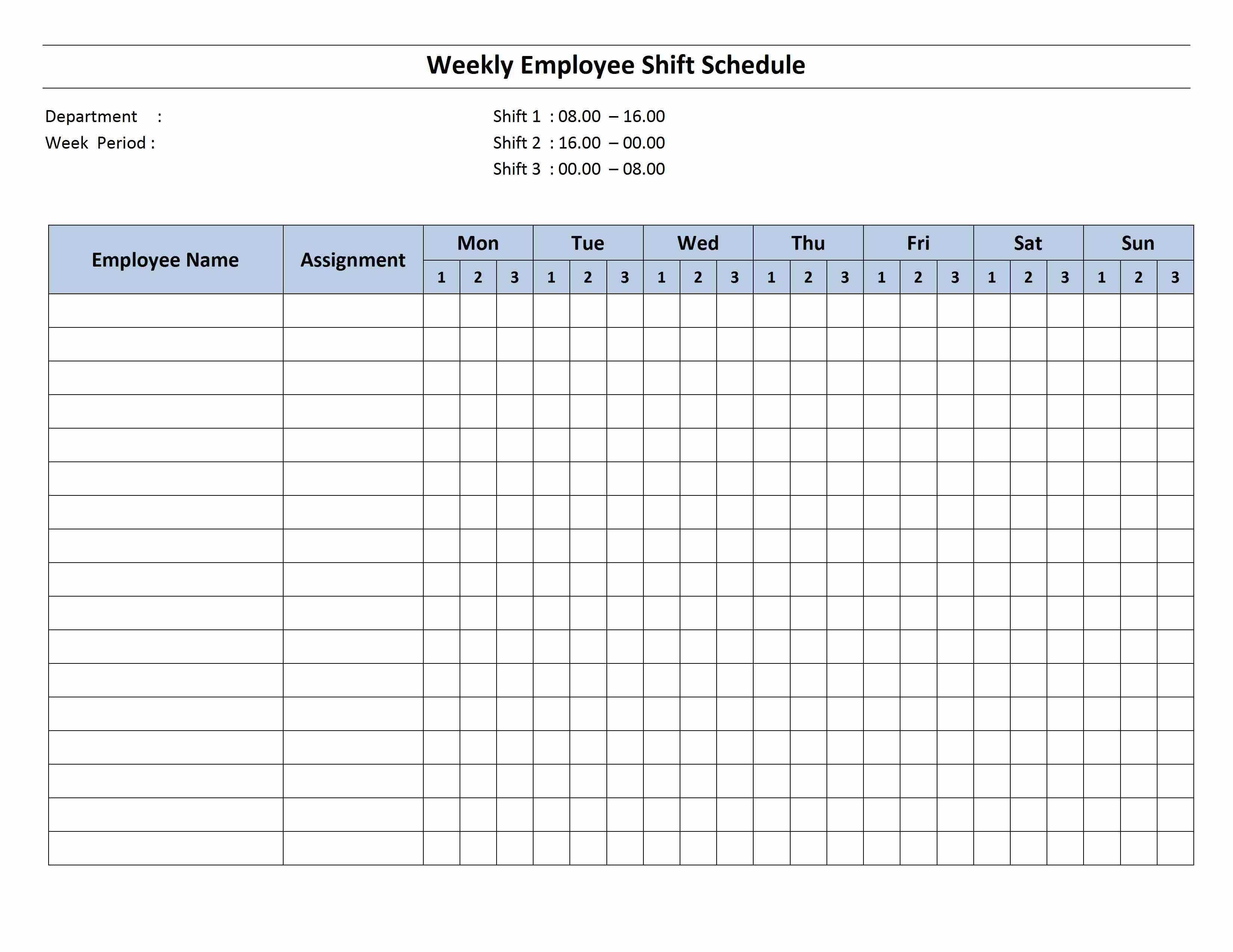 Printable Employee Monthly Schedule Template
