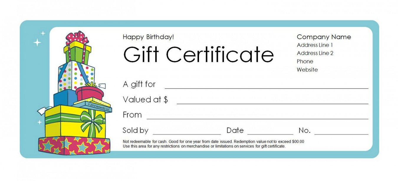 Printable Fillable Gift Certificate Template Free
