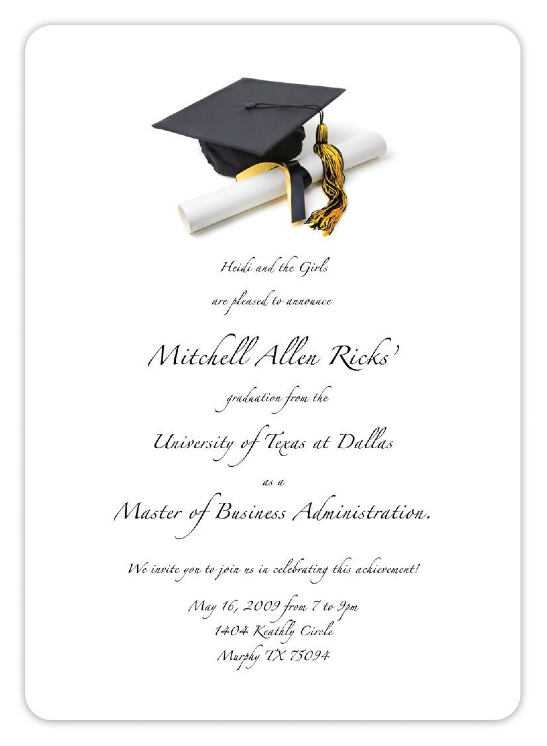 Printable Free Graduation Invitation Templates For Word