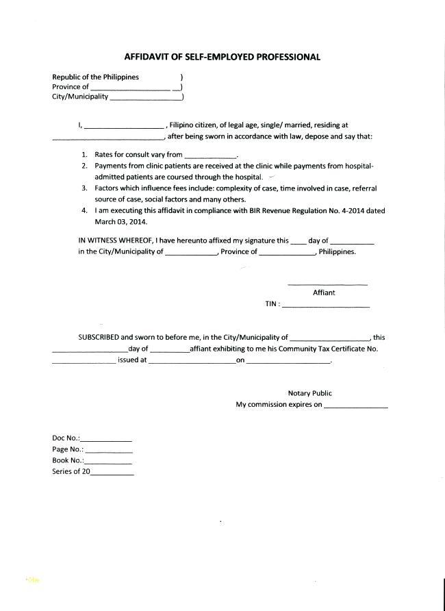 Printable General Affidavit Template