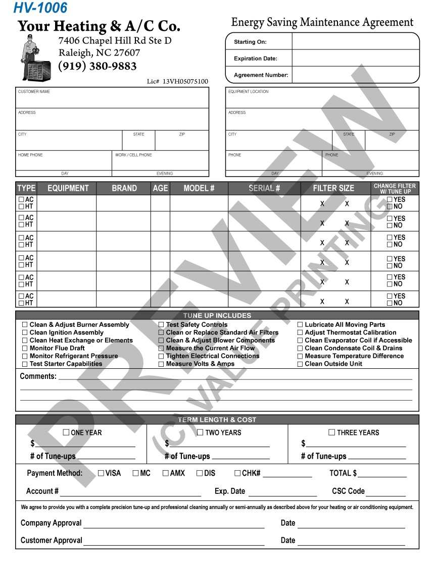Printable Hvac Service Contract Template