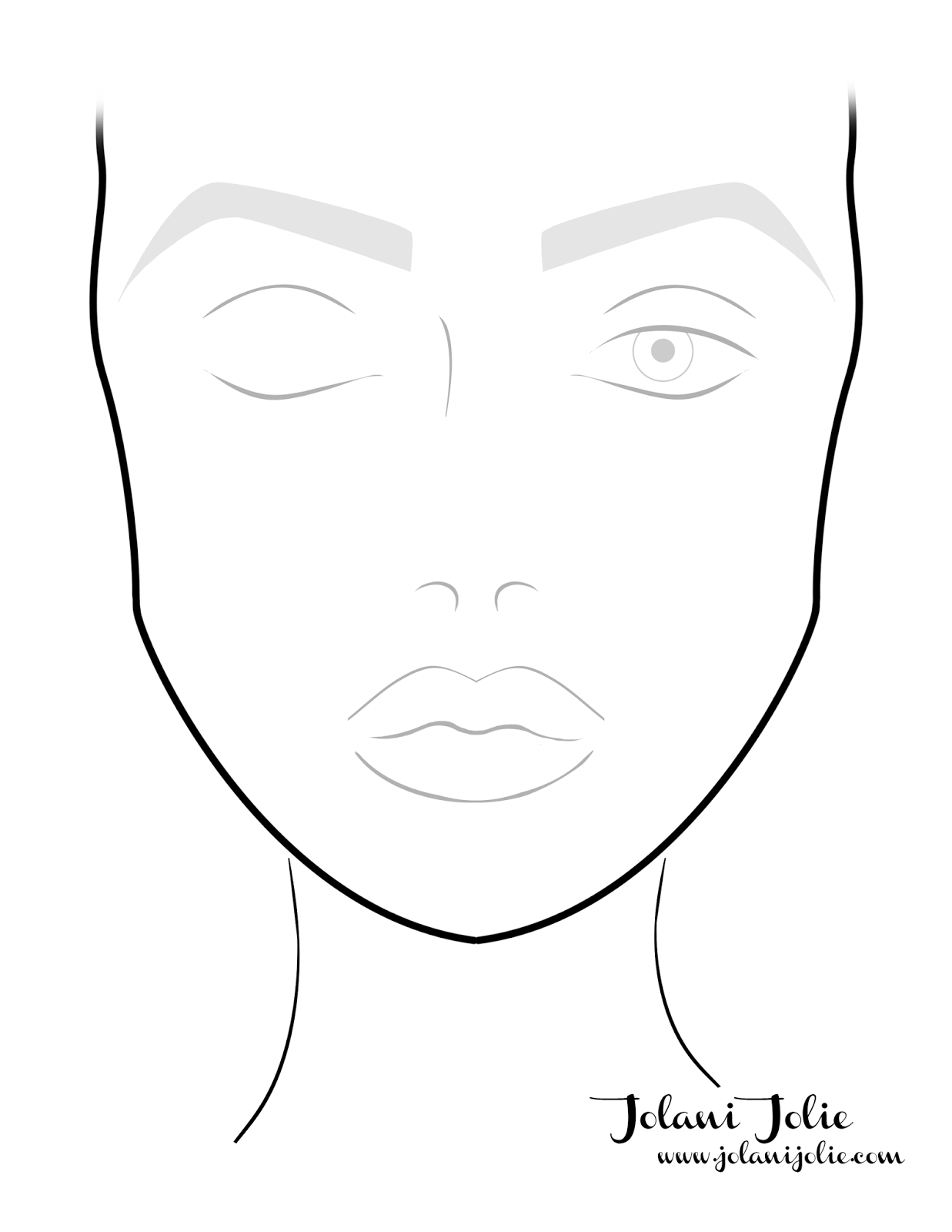 Printable Makeup Face Chart Template