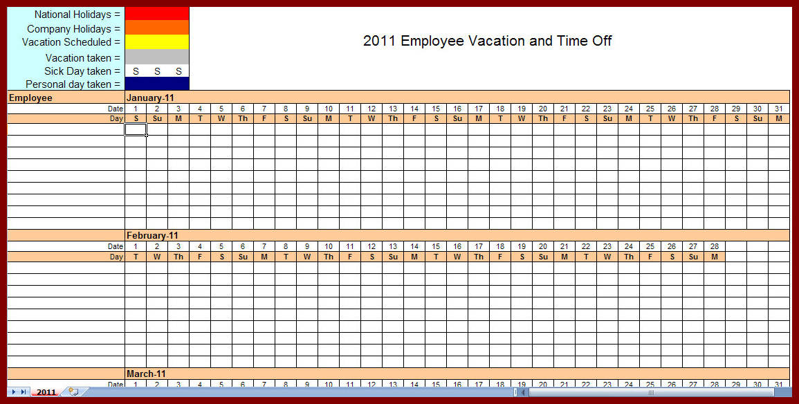 Printable Monthly Employee Schedule Template Excel