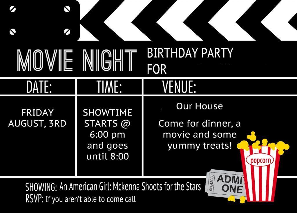 Printable Movie Invitation Template