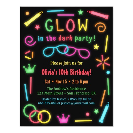 Printable Neon Party Invitations Templates Free
