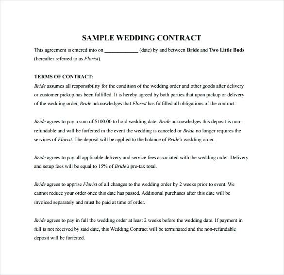 Printable Wedding Florist Contract Template