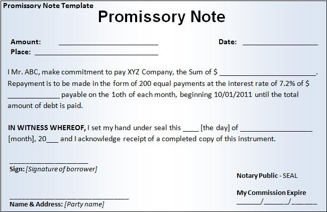 Printable Word Promissory Note Template