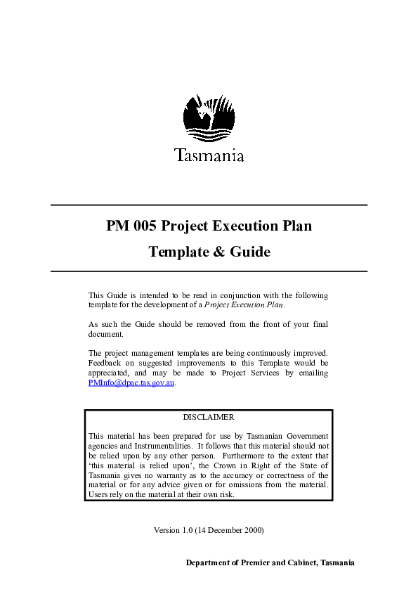 Project Execution Plan Template Doc