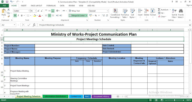 Project Management Communication Plan Template Excel