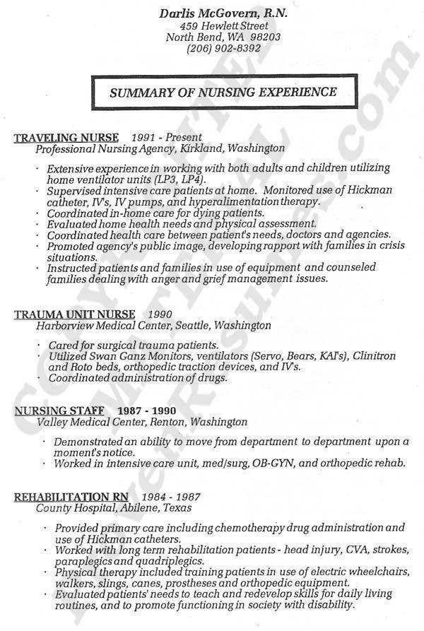 Registered Nurse Nursing Cv Template Australia
