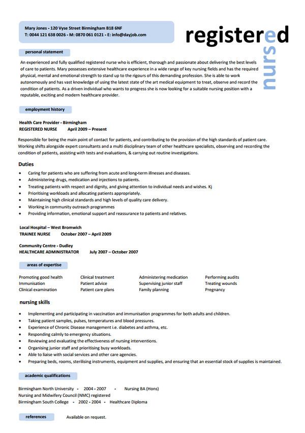 Registered Nurse Resume Templates For Nurses