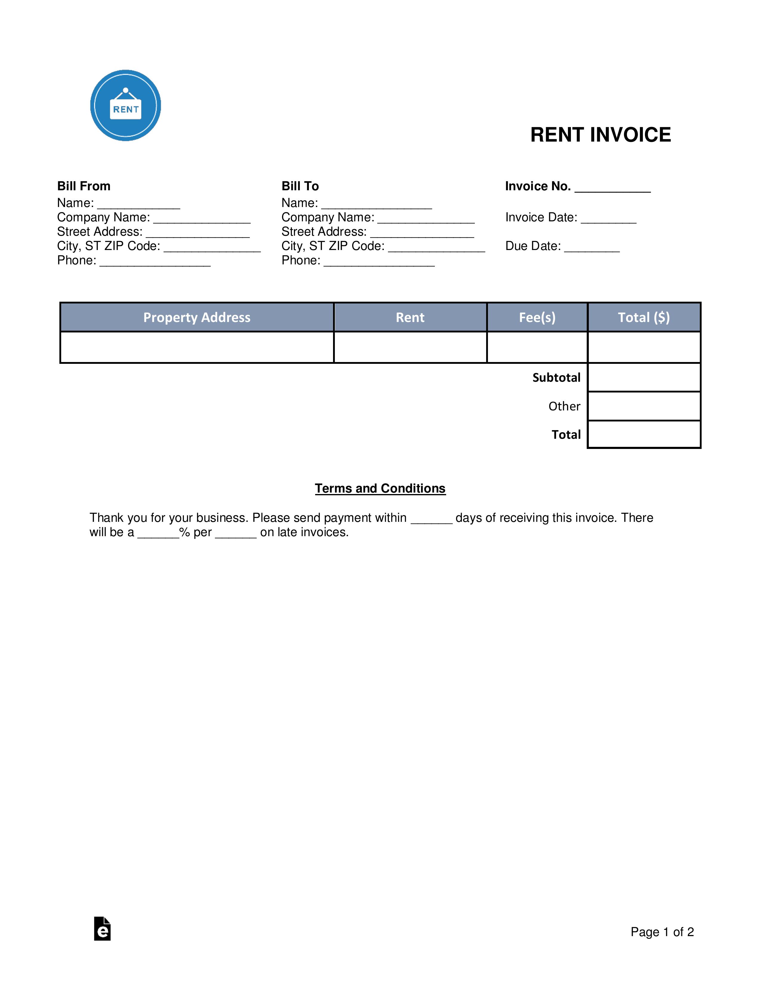 Rental Invoice Template Free