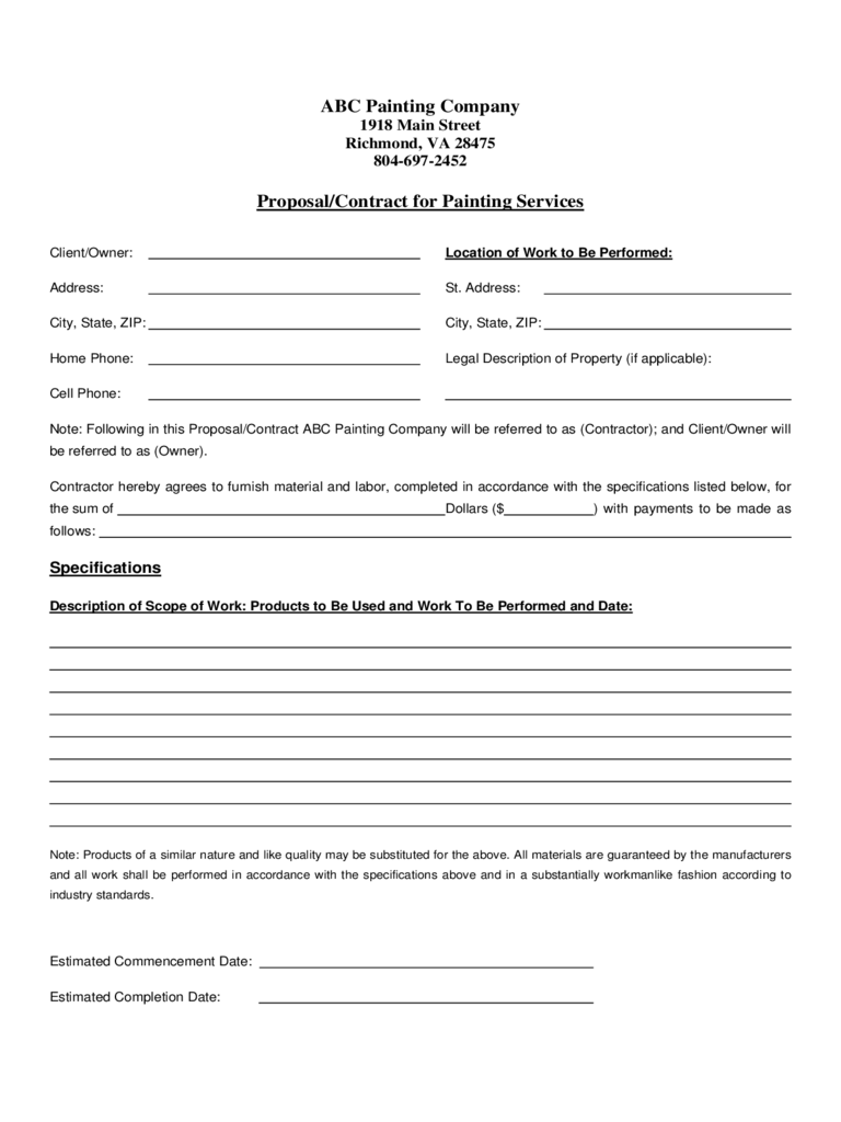 Residential Painting Contract Template