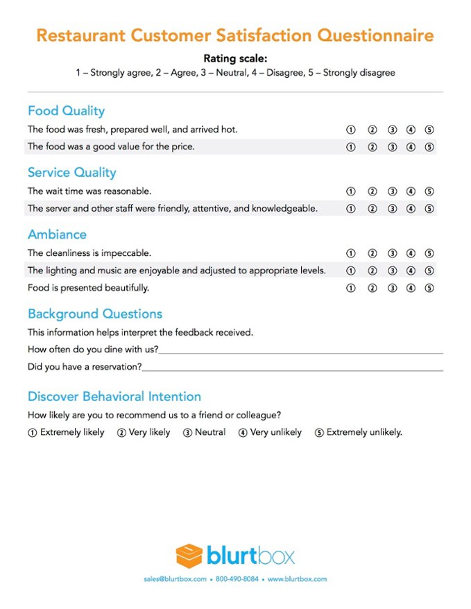 Restaurant Customer Survey Template