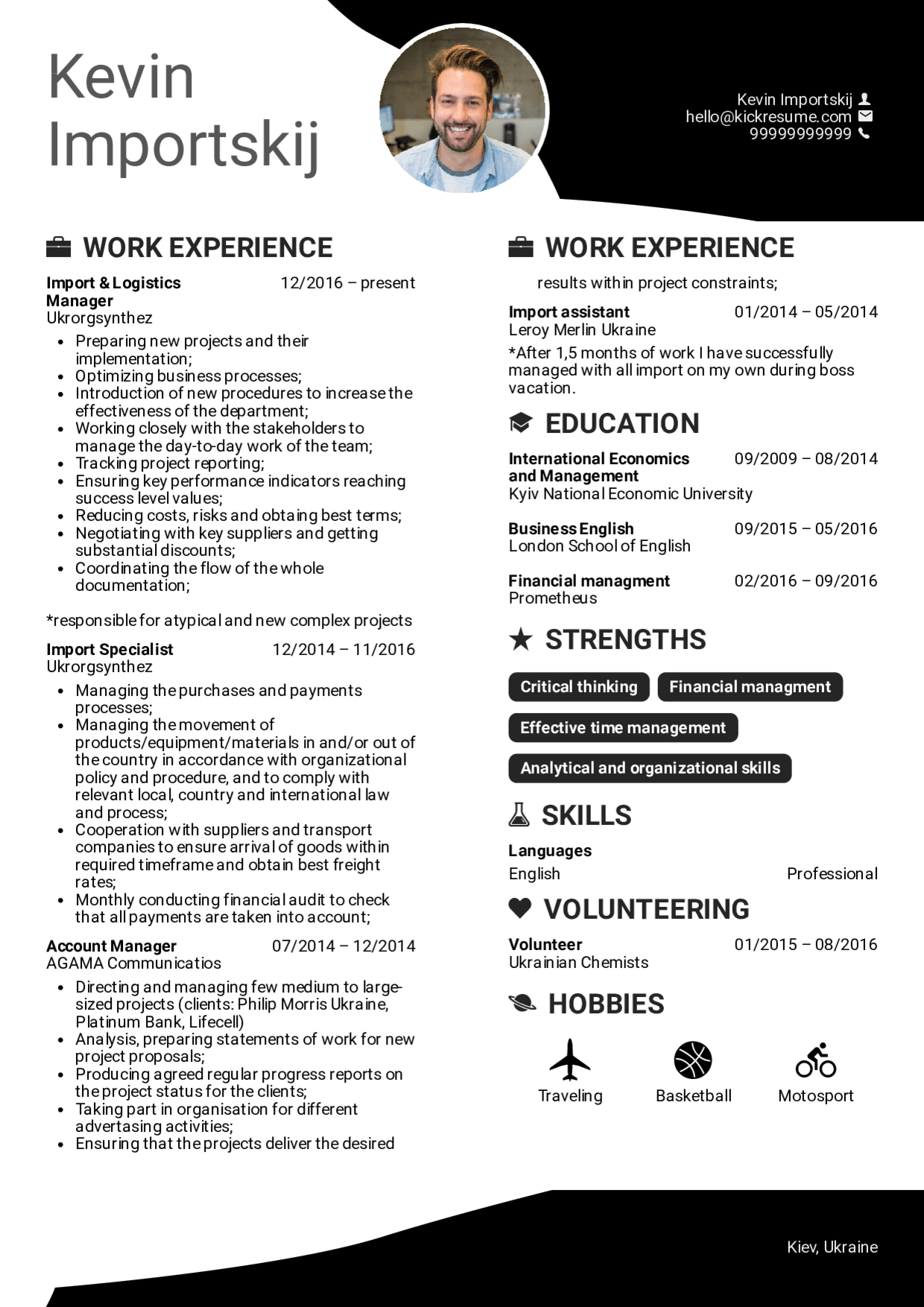 Resume Template For Logistics Manager