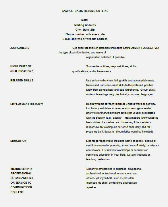 Resume Template Resume Outline Free