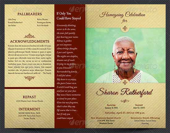 Free Printable Funeral Announcement Template For 33 Sample Funeral Programs Templates