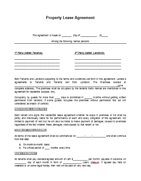 Sample Lease Template