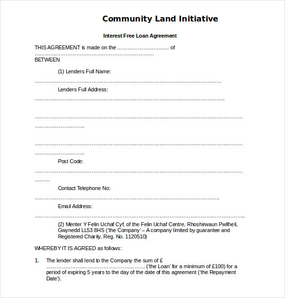 Sample Loan Agreement Template Free