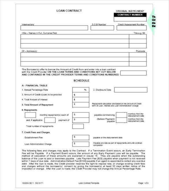 Secured Loan Template Free