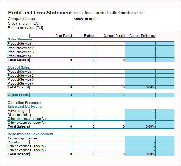 Self Employed Profit And Loss Statement Template Excel