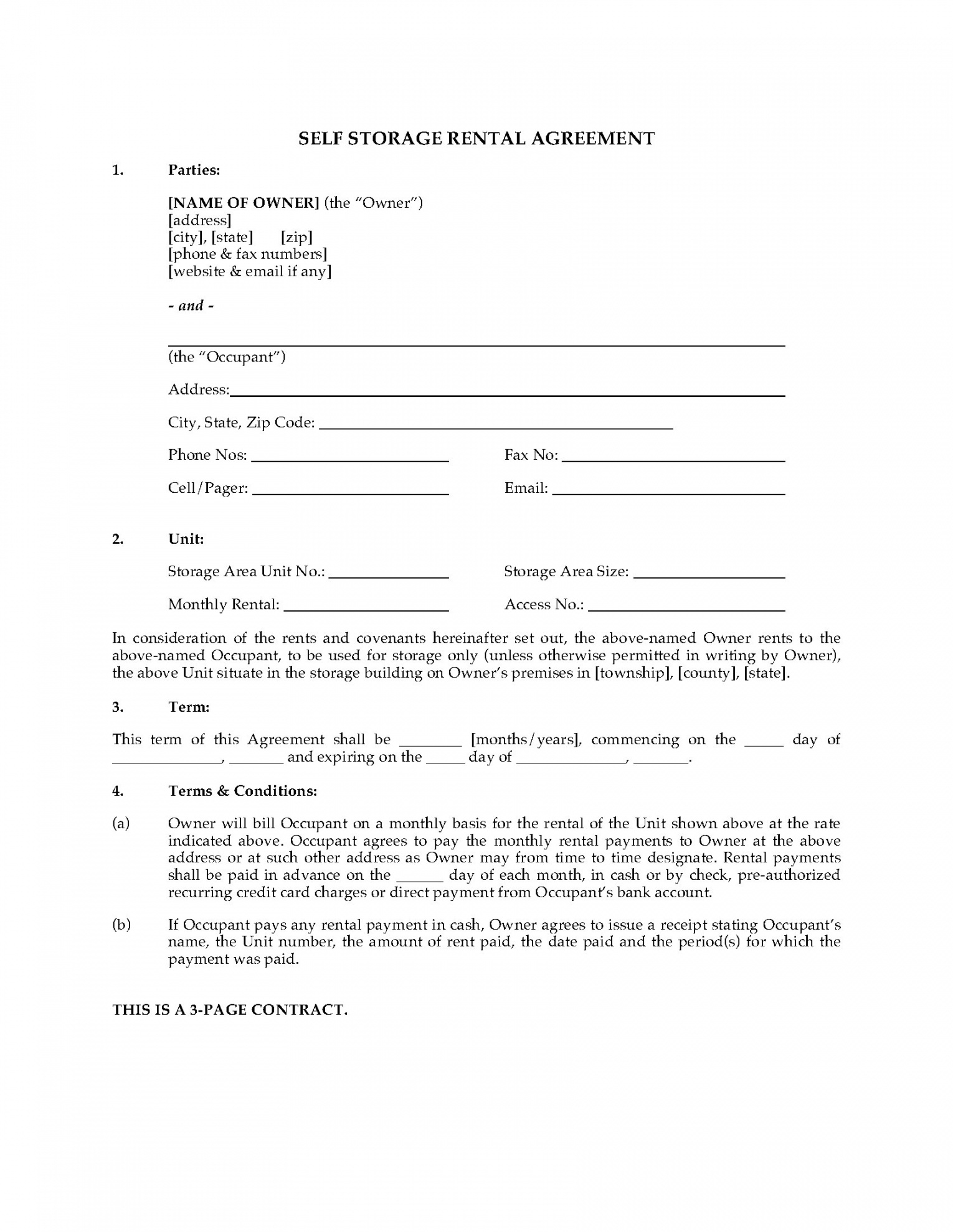 Printable Usa Self Storage Unit Rental Agreement Storage Unit Rental Agreement Template Pdf