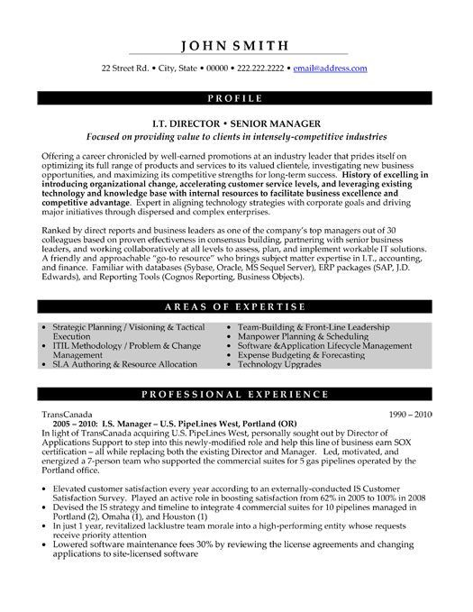 Senior Management Resume Templates