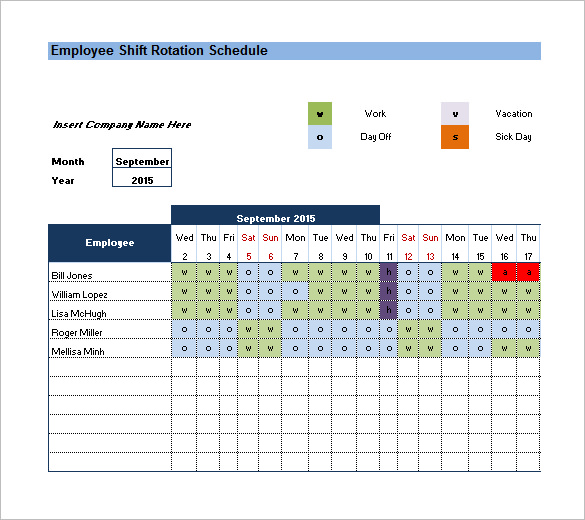 Shift Rotation Schedule Template
