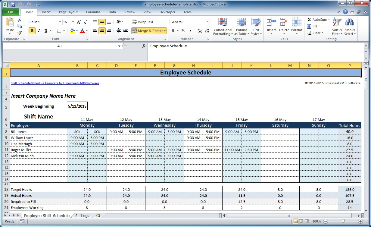 Shift Work Schedule Templates Free
