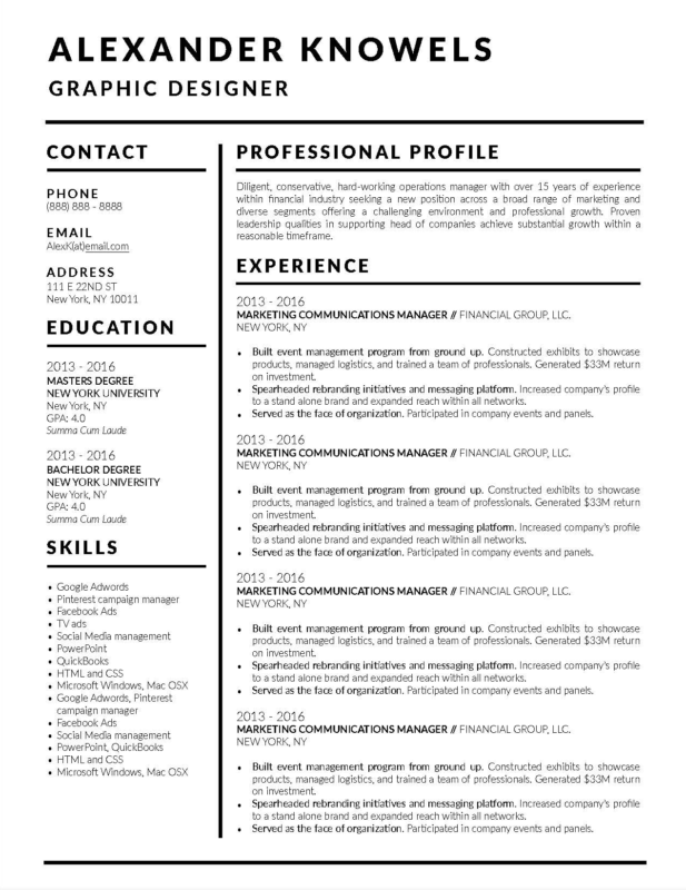 Simple Microsoft Word Downloadable Resume Template