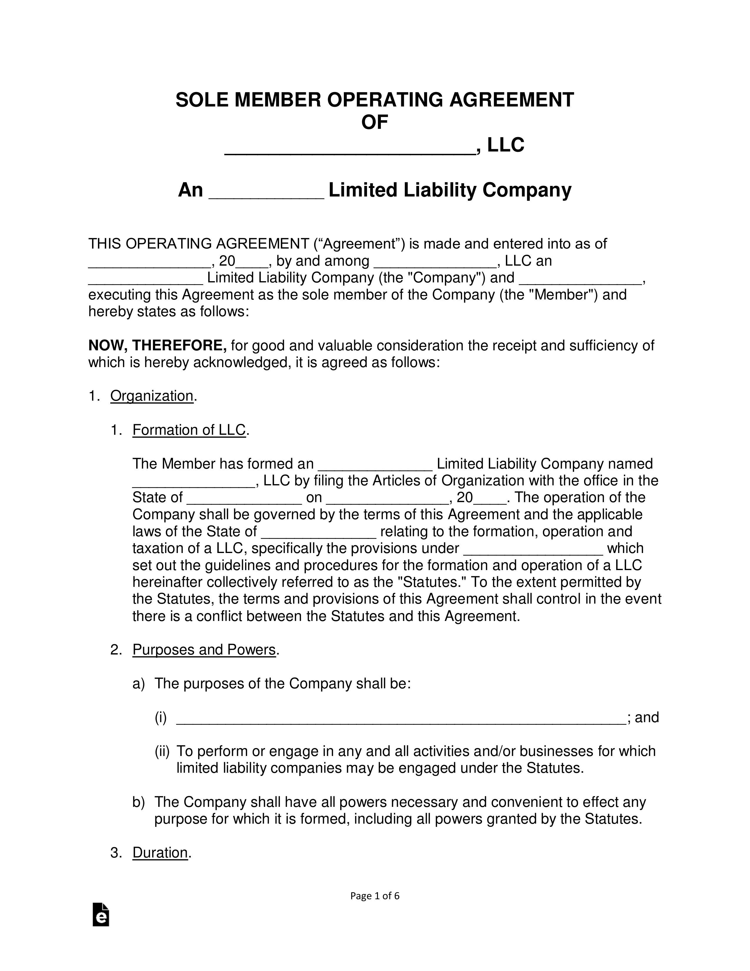 Single Member Llc Operating Agreement Template Free