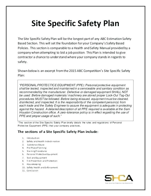 Site Specific Safety Plan Template Canada