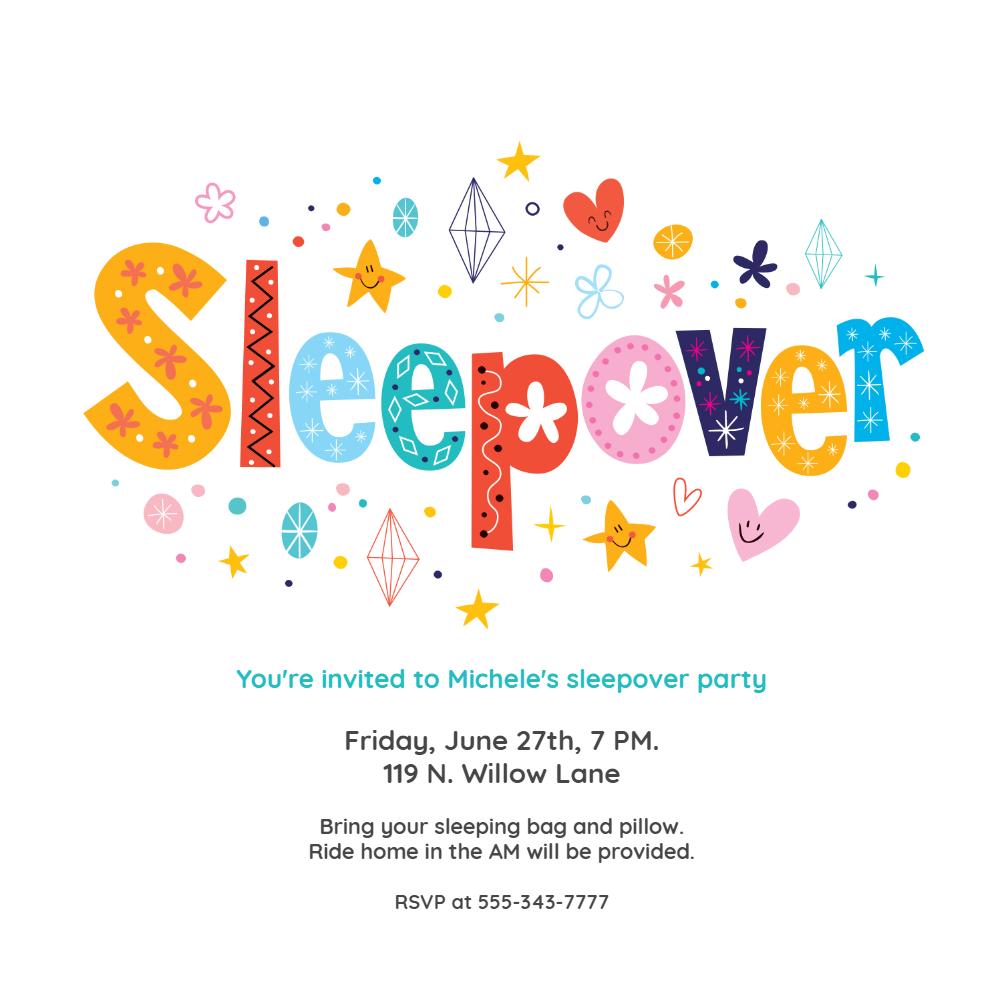 Sleepover Invitation Template Free