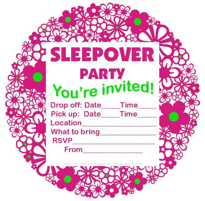 Sleepover Invitation Template Word