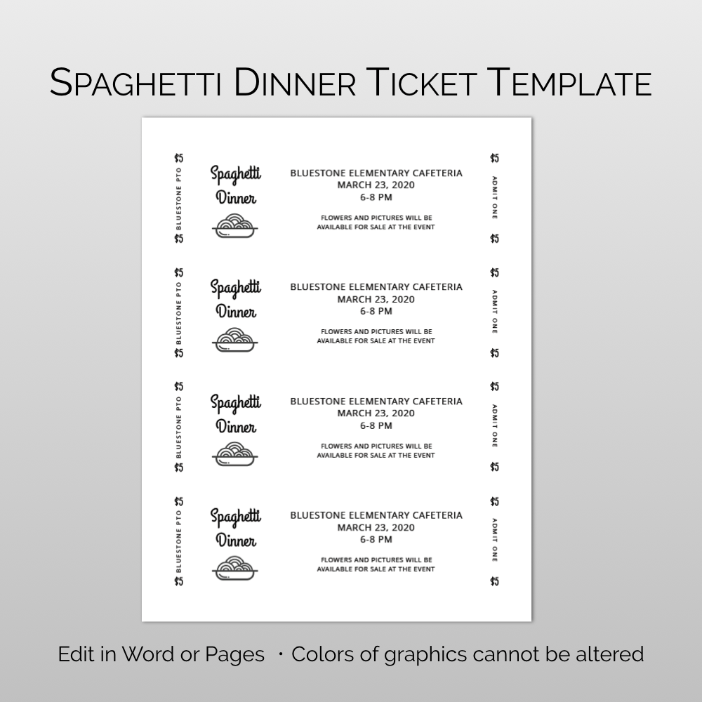 Spaghetti Dinner Fundraiser Ticket Template