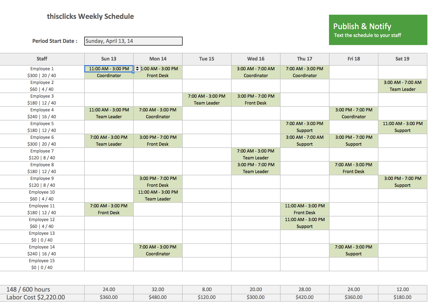 Staff Scheduling Template