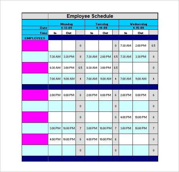 Staffing Schedule Template