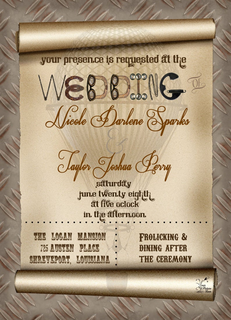 Steampunk Wedding Invitations Templates