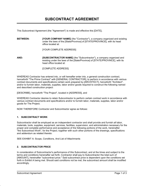 Subcontractor Contract Agreement Template